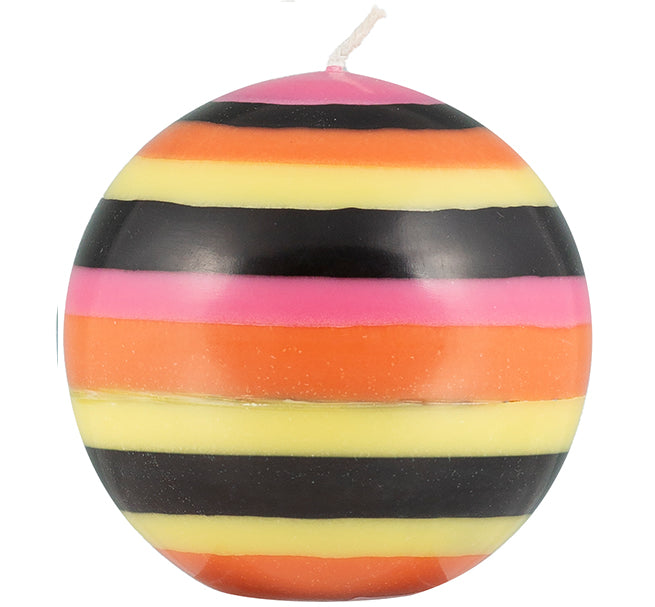 British Colour Standard - Large Striped Ball Candle - Orange Flame, Neyron Rose, Sulphur Yellow & Jet Black