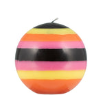 British Colour Standard - Small Striped Ball Candle - Orange Flame, Neyron Rose, Sulphur Yellow & Jet Black