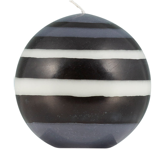 BRITISH COLOUR STANDARD - Large Striped Ball Candle - Jet Black, Pearl White & Dove Grey