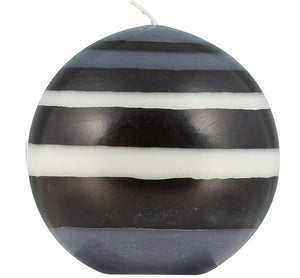 Striped BRITISH COLOUR STANDARD - Large Eco Ball Candle - Jet Black, Pearl White & Dove Grey