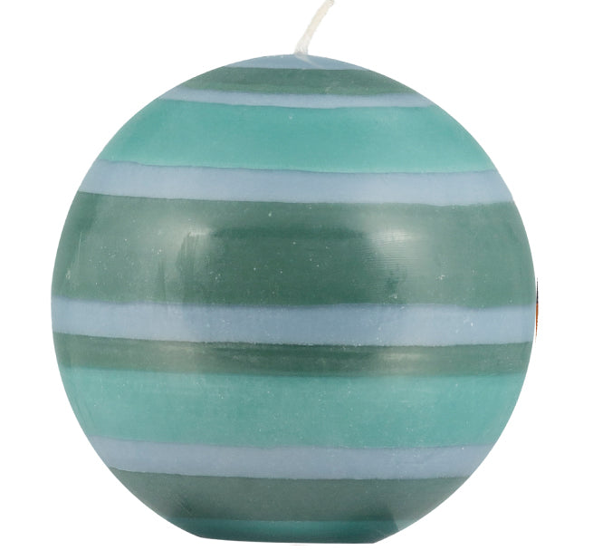 British Colour Standard - Large Striped Ball Candle - Beryl Green, Bokhara & Moonstone Grey