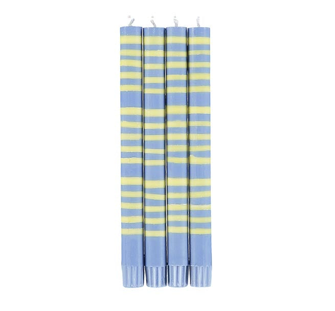 BRITISH COLOUR STANDARD - STRIPED Saxe Blue & Primrose Yellow Eco Dinner Candles, 4 per pack