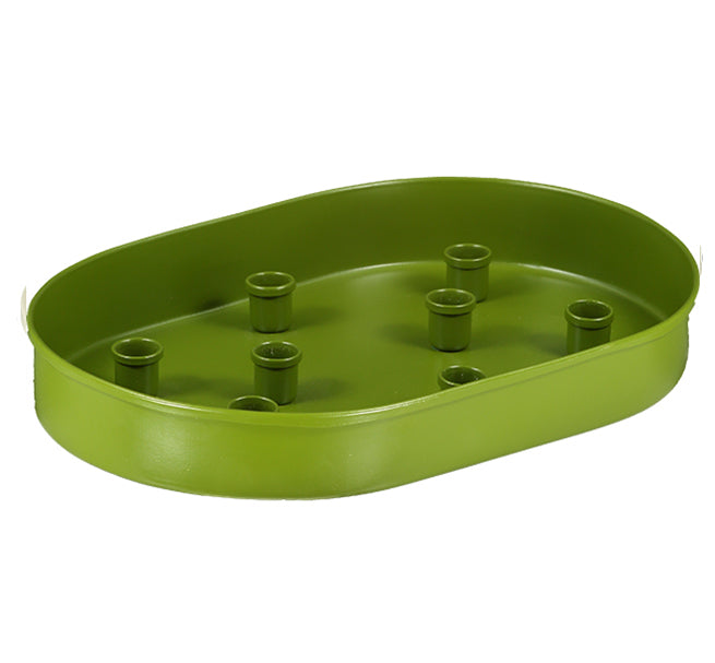 NEW! BRITISH COLOUR STANDARD - Oval Metal Candle Platter in Olive Green