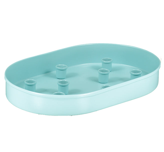 NEW! BRITISH COLOUR STANDARD - Oval Metal Candle Platter in Sky Blue