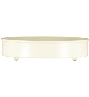 NEW! BRITISH COLOUR STANDARD - Small Round Metal Candle Platter - Stone White