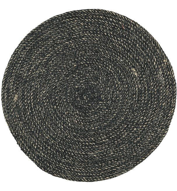 BRITISH COLOUR STANDARD - 38cm D Jute Placemat in Jet Black/Natural, 1 Mat