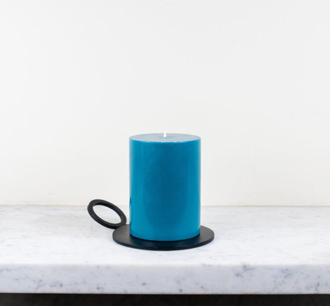 Candle PLate, Candle Holder, BRITISH COLOUR STANDARD - Petrol Blue Eco Pillar Candle