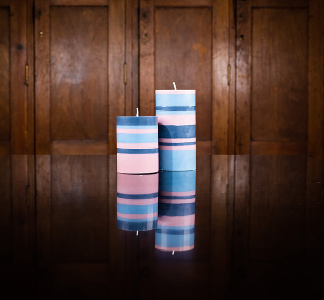 BRITISH COLOUR STANDARD - Old Rose Indigo and Pompadour Eco Pillar Candle