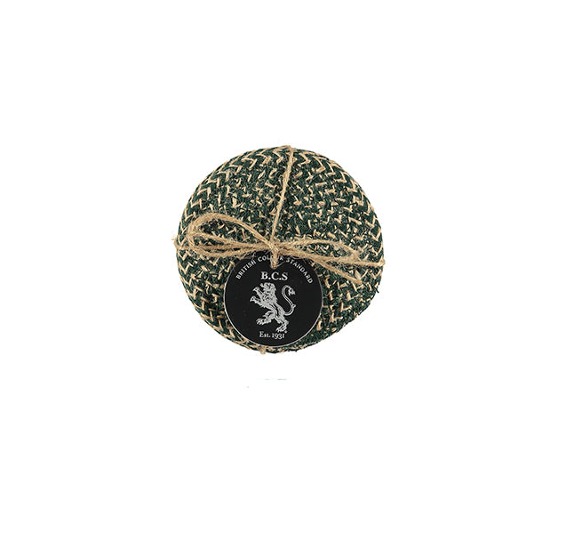 BRITISH COLOUR STANDARD - Jute Coasters in Olive Green/Natural tied set of 4