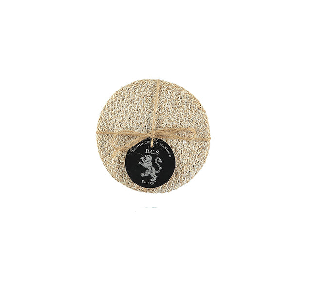 BRITISH COLOUR STANDARD - Jute Coasters in Pearl White/Natural, Tied Set of 4