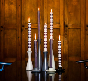 BRITISH COLOUR STANDARD- Tall Gunmetal Grey Wooden Candle Holder