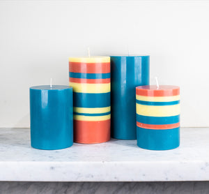 BRITISH COLOUR STANDARD - Petrol Blue and Striped Eco Pillar Candle Collection