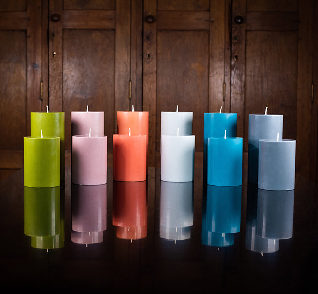 BRITISH COLOUR STANDARD, Fair Trade Made, Colourful, Eco, Striped and Solid Colour Pillar Candles