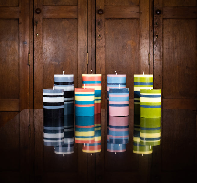 BRITISH COLOUR STANDARD Fair Trade Made Colourful, Eco, Striped and Solid Colour Pillar Candles
