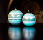 BRITISH COLOUR STANDARD - Small Striped Eco Ball Candle - Beryl Green, Bokhara & Moonstone Grey