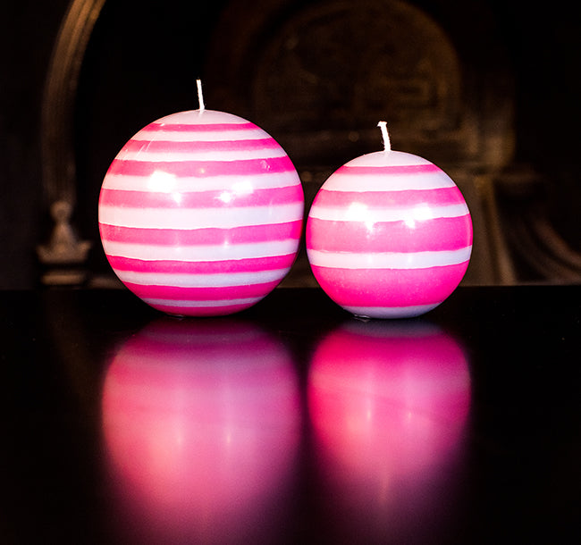 British Colour Standard - Small Striped Ball Candle - Neyron Rose & Willow Grey