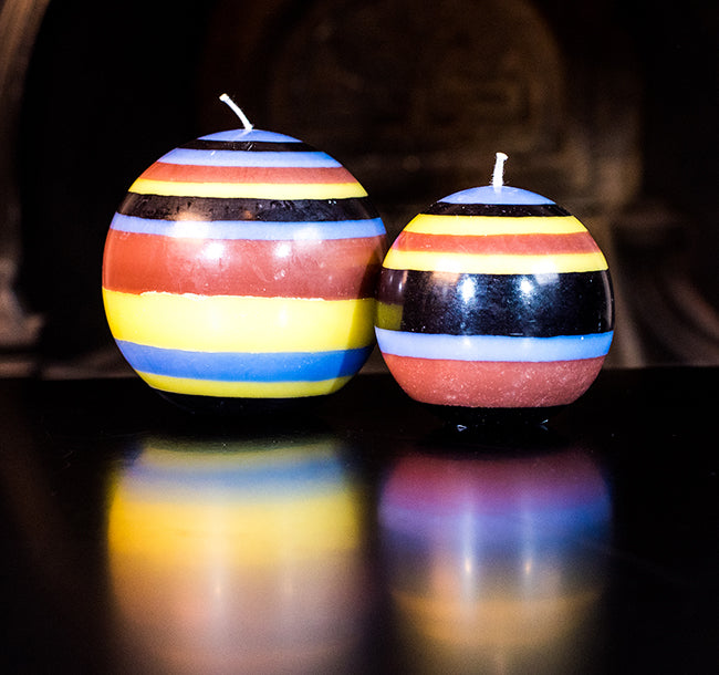 BRITISH COLOUR STANDARD - Small Eco Ball Candle - Rose Beige, Jet Black, Saxe Blue & Primrose