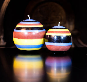 BRITISH COLOUR STANDARD - Large Striped Ball Candle - Rose Beige, Jet Black, Saxe Blue & Primrose