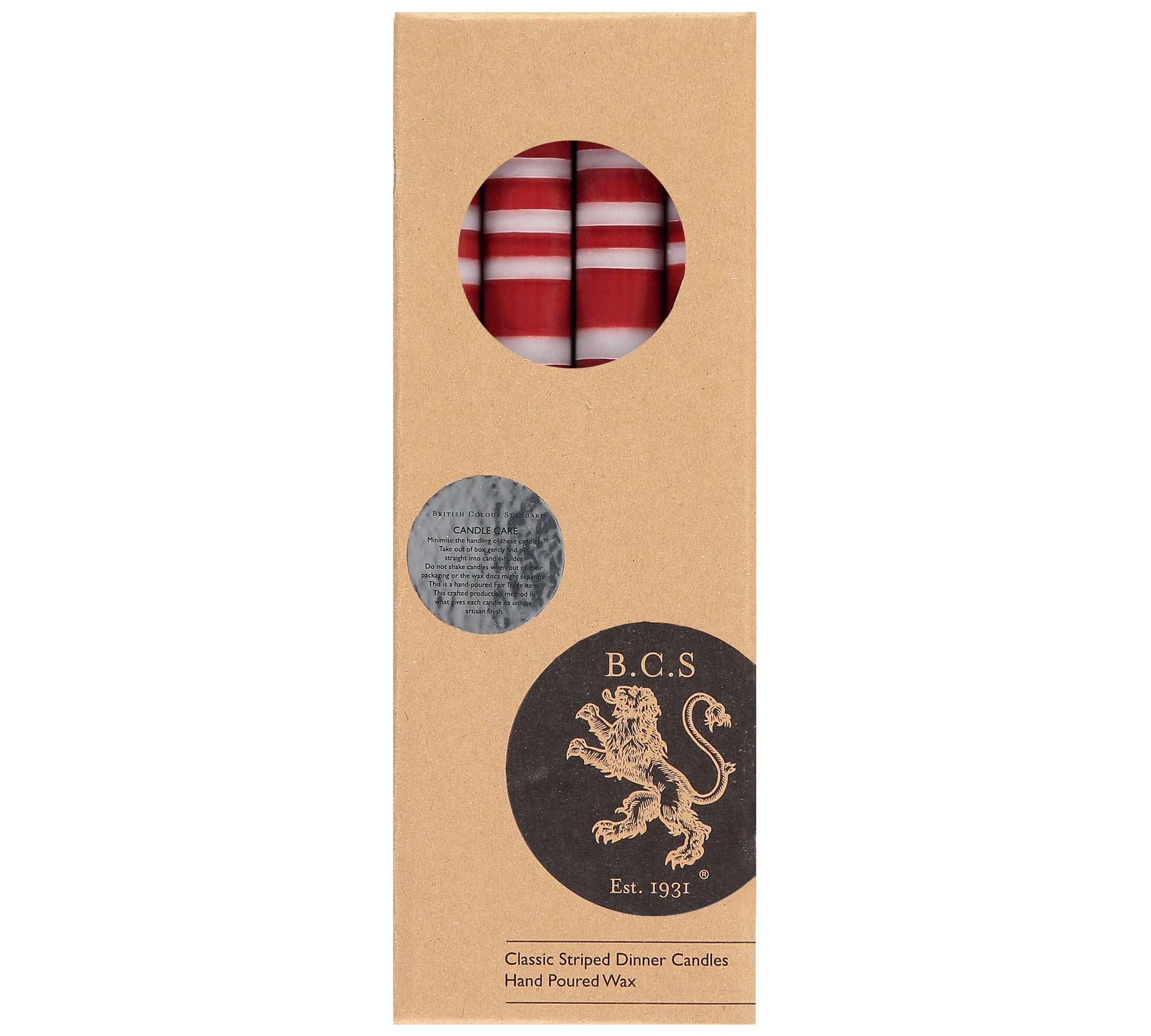 BRITISH COLOUR STANDARD - Striped Guardsman Red & Gull Grey Eco Dinner Candles, 4 per pack