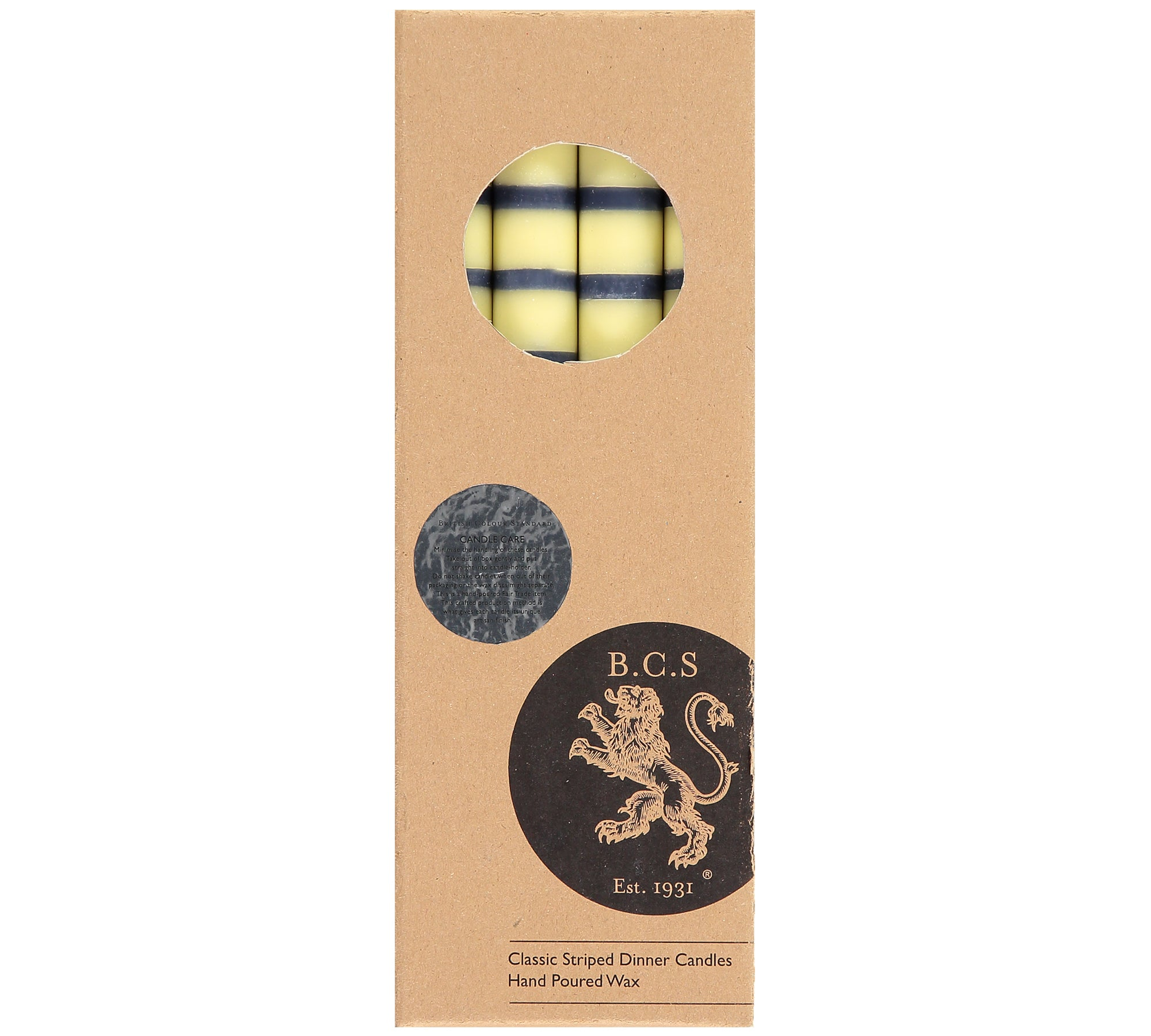 BRITISH COLOUR STANDARD - Striped Indigo, Jasmine & Olive Eco Dinner Candles, 4 per pack