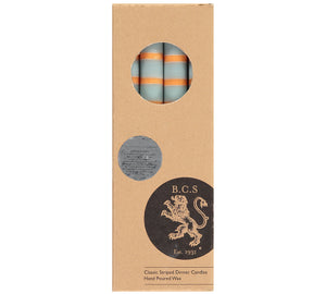 BRITISH COLOUR STANDARD - Striped Gunmetal, Opaline & Marigold Eco Dinner Candles, 4 per pack