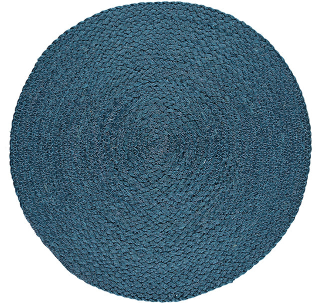 NEW BRITISH COLOUR STANDARD- Silky Jute Round Serving Mats in Petrol Blue, set of 2
