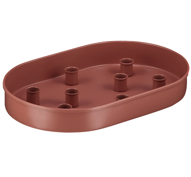BRITISH COLOUR STANDARD - Oval Metal Candle Platter in Brick Dust