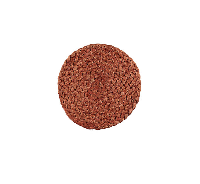 BRITISH COLOUR STANDARD- Silky Jute Coasters in Terra Cotta, Tied Set of 4