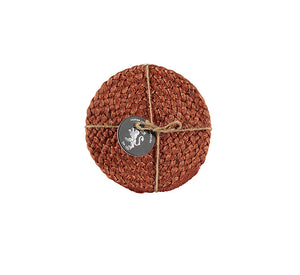 BRITISH COLOUR STANDARD- Silky Jute Coasters in Terra Cotta, set of 4