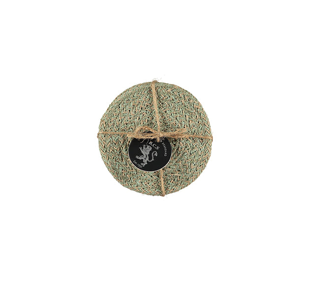 BRITISH COLOUR STANDARD- Jute Coasters in Limpid Green/Natural, Tied Set of 4