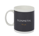 British Colour Standard BCS Gunmetal Grey Mug, White Bone China, made in UK