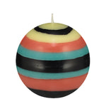 BRITISH COLOUR STANDARD - Small Striped ball Eco Candle in Honey Bird, Jet, Jasmine & Rust