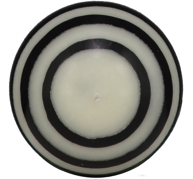 BRITISH COLOUR STANDARD - Small Striped ball Eco Candle in Jet and Pearl.