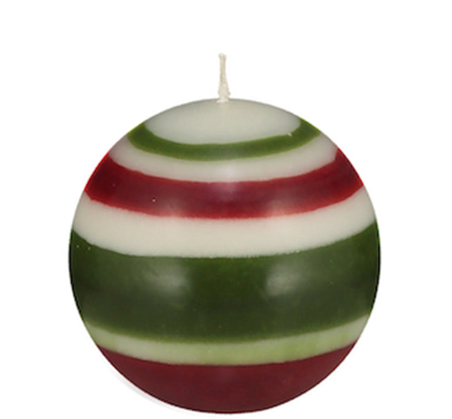 BRITISH COLOUR STANDARD - Small Striped ball Eco Candle in Guardsman Red, Pearl & Olive