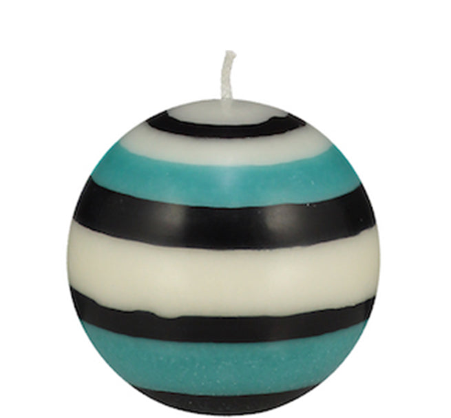 BRITISH COLOUR STANDARD - Small Striped ball Eco Candle in Jet, Pearl & Honey bird