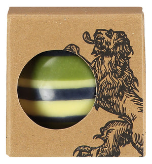 BRITISH COLOUR STANDARD - Large Striped ball Eco Candle in Olive, Indigo & Jasmine