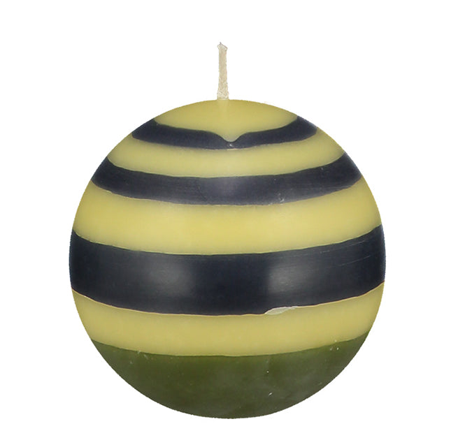 BRITISH COLOUR STANDARD - Small Striped ball Eco Candle in Olive, Indigo & Jasmine