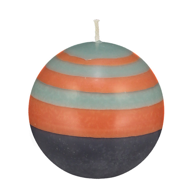 BRITISH COLOUR STANDARD - Small Striped ball Eco Candle in Marigold, Gunmetal & Opaline