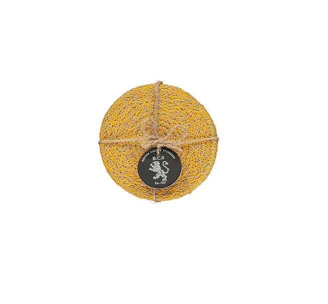 BRITISH COLOUR STANDARD- Jute Coasters in Indian Yellow/Natural, Tied Set of 4