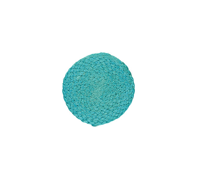BRITISH COLOUR STANDARD- Silky Jute Coasters in Medici Blue, Tied Set of 4