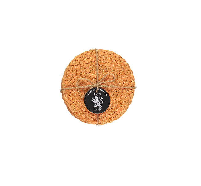 BRITISH COLOUR STANDARD- Silky Jute Coasters in Spanish Orange set of 4