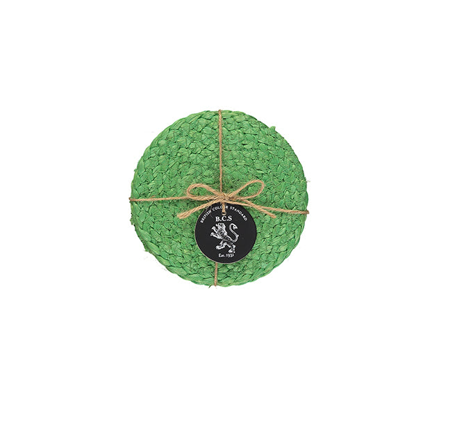BRITISH COLOUR STANDARD- Silky Jute Coasters in Grass Green, tied set of 4