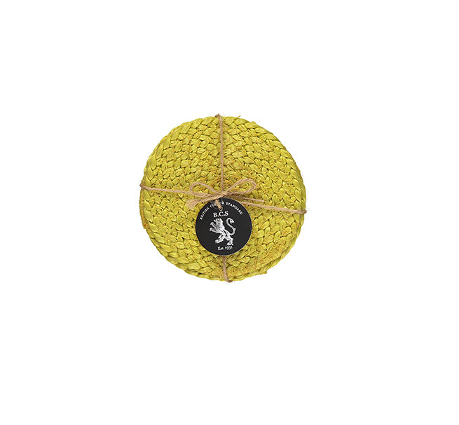 NEW BRITISH COLOUR STANDARD- Silky Jute Coasters in Sulphur Yellow, set of 4