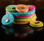 NEW BRITISH COLOUR STANDARD- Silky Jute Coasters in Grass Green, tied set of 4