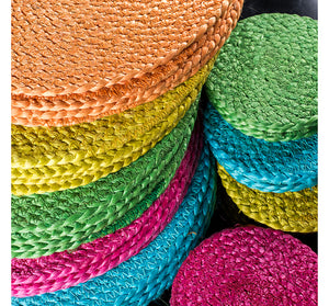 BRITISH COLOUR STANDARD - 27 cm D Silky Jute Place Mats in Spanish Orange, Tied Set of 4