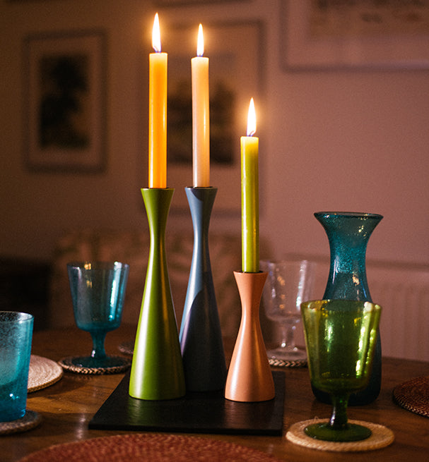 BRITISH COLOUR STANDARD wooden candleholders,  Made From Waste Wood and wooden off-cuts