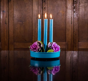 Small Round Metal Candle Platter - Petrol Blue