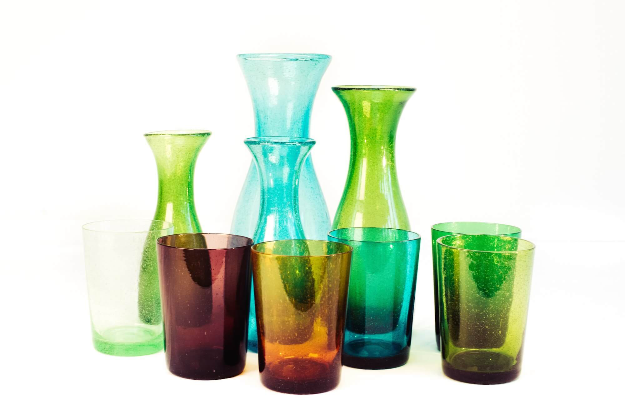 BRITISH COLOUR STANDARD -  Handmade Recycled Glass Carafes and Tumblers