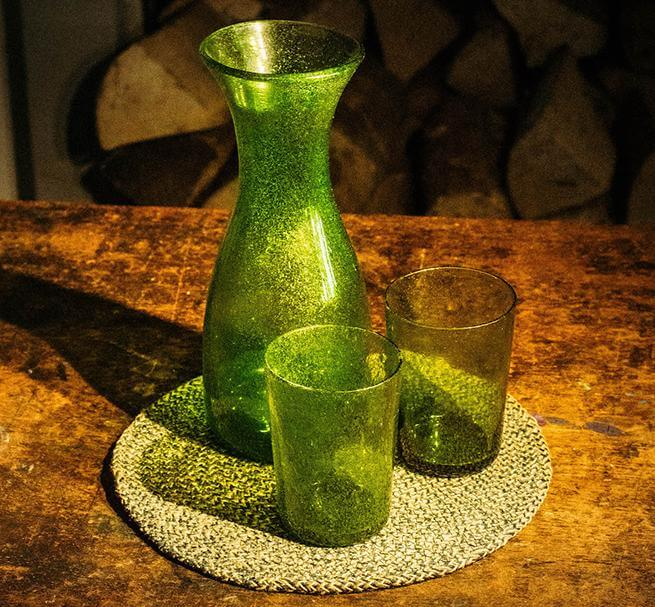 BRITISH COLOUR STANDARD - Apple Green Handmade Recycled Glass Carafe