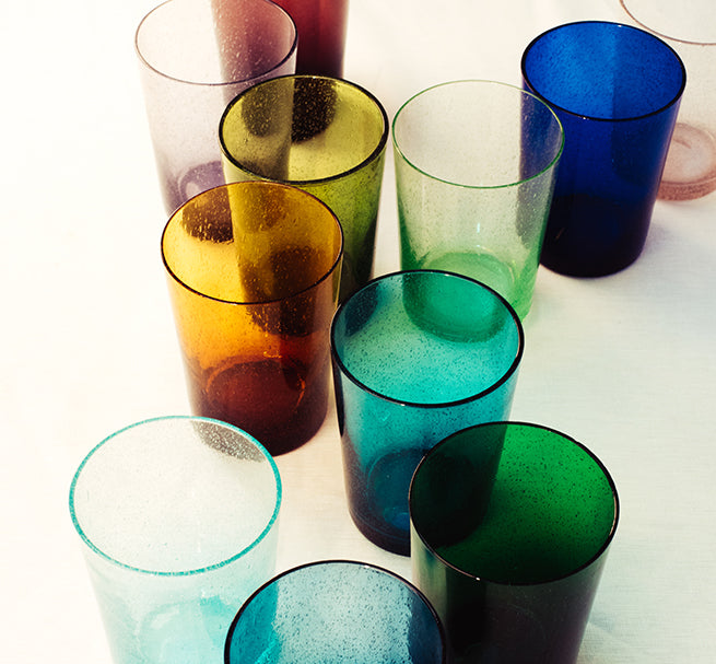 BRITISH COLOUR STANDARD colourful hand blown recycled bubble glass tumbler